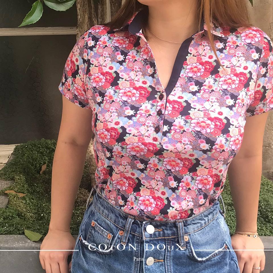 コトンドゥの和花柄半袖レディースポロシャツ