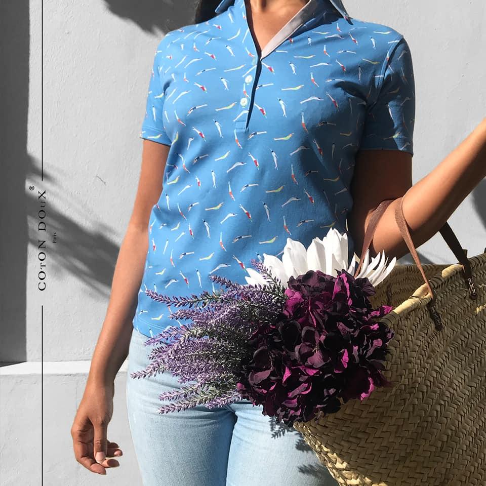 コトンドゥの綺麗なブルー半袖レディースポロシャツ