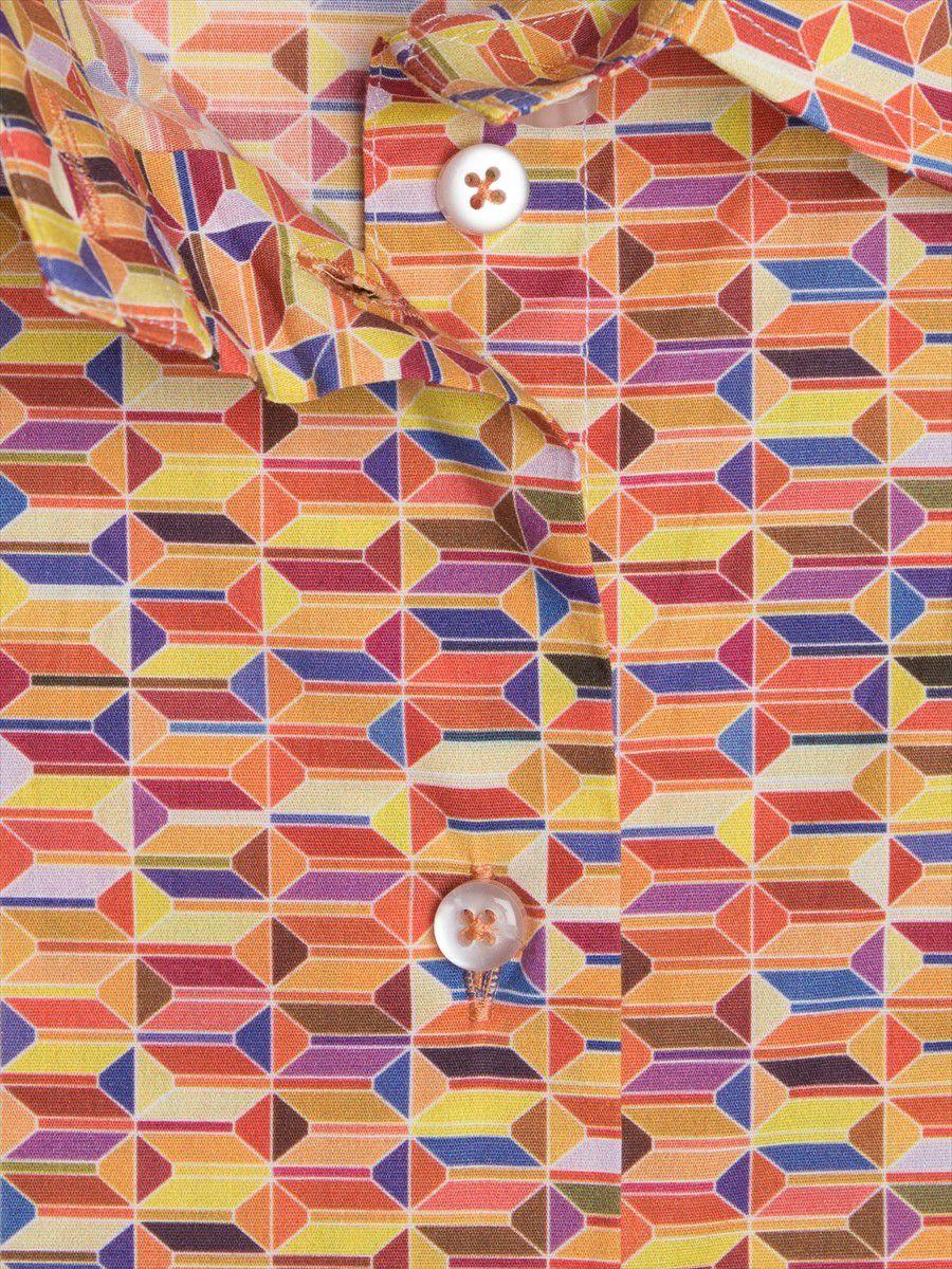 l92ad1754shapes5 レディース 柄シャツ 茶 ジオメトリック 幾何学模様 生地アップ