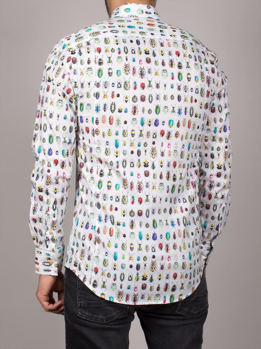 柄シャツ メンズ 長袖 白 カラフル 昆虫柄 着用イメージ後ろ  cotoudoux自由が丘店・横浜元町アウトレット店