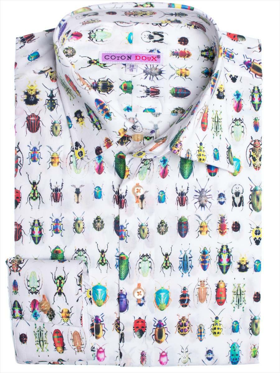 柄シャツ 長袖 白 カラフル 昆虫柄 アップ cotoudoux自由が丘店・横浜元町アウトレット店