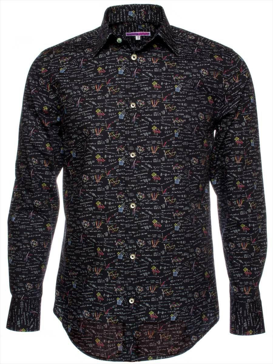 柄シャツ おしゃれ 黒 メンズ 化学式柄|パリのシャツブランド・コトンドゥ/CotonDoux