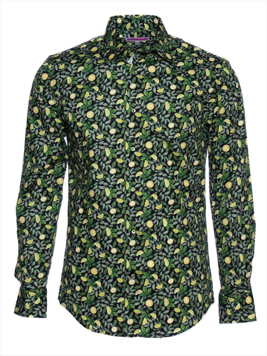 柄シャツ おしゃれ 黒 メンズ レモン柄 パリのシャツブランド・コトンドゥ/CotonDoux