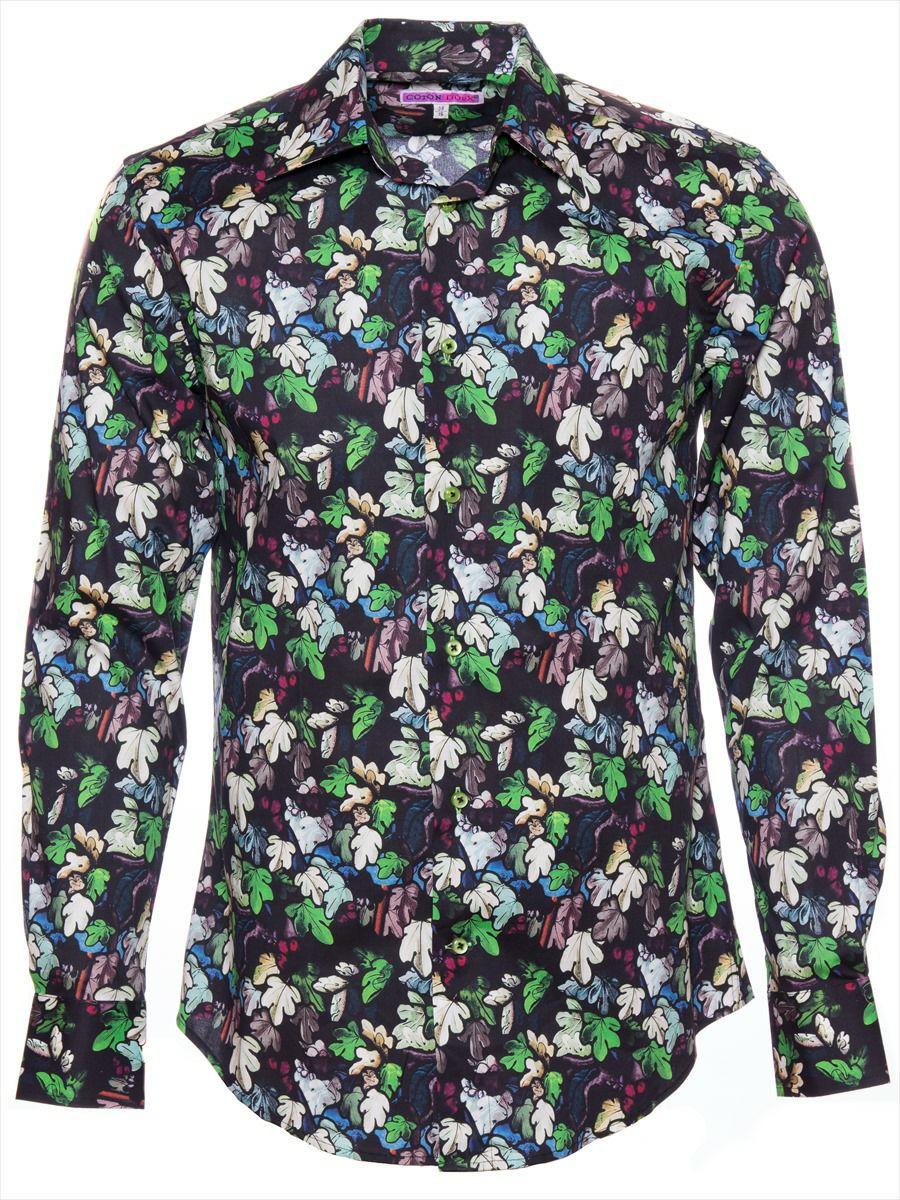 柄シャツ かっこいい 黒 メンズ リーフ柄|パリのシャツブランド・コトンドゥ/CotonDoux