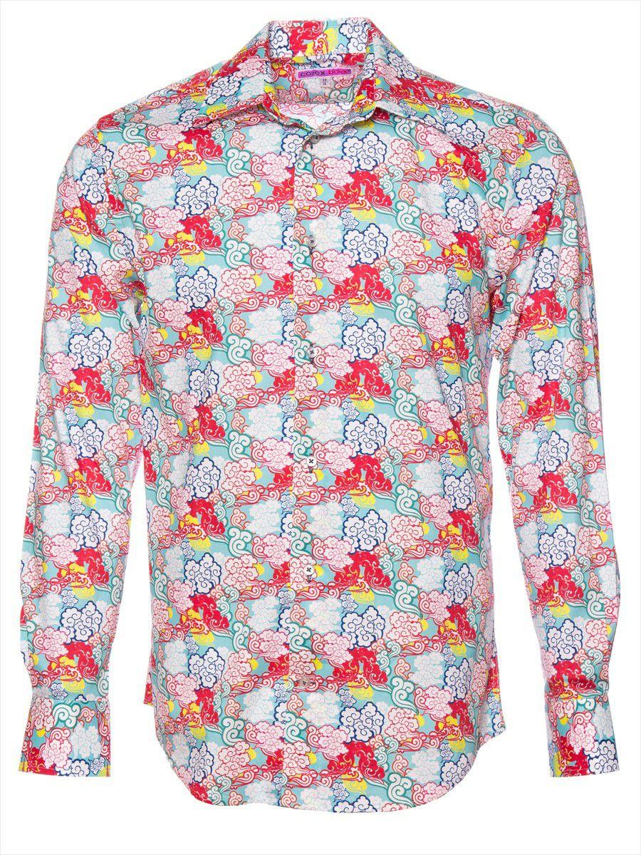 柄シャツ 個性的 メンズ 長袖 風雲柄|シャツ専門店パリのブランド・コトンドゥ/CotonDoux