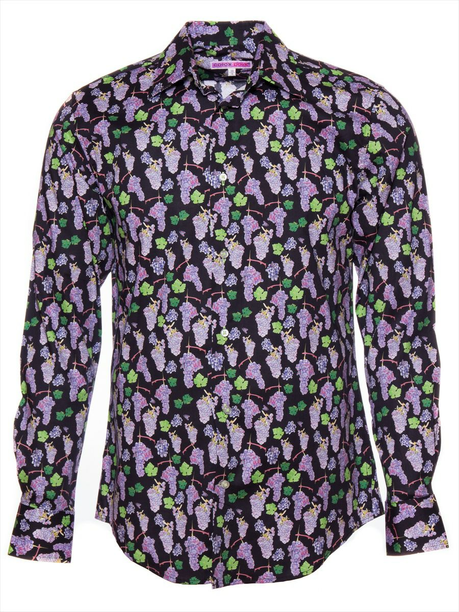 柄シャツ かわいい 黒 メンズ グレープ柄 パリのシャツブランド・コトンドゥ/CotonDoux