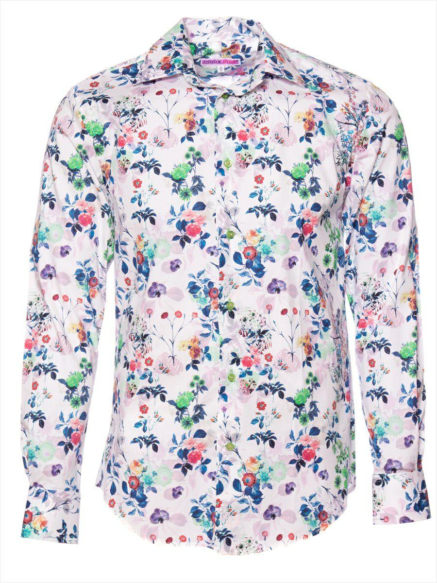 オフィスカジュアル シャツ 花柄 おしゃれ 白|柄シャツ専門店パリのブランドCotonDoux(コトンドゥ)