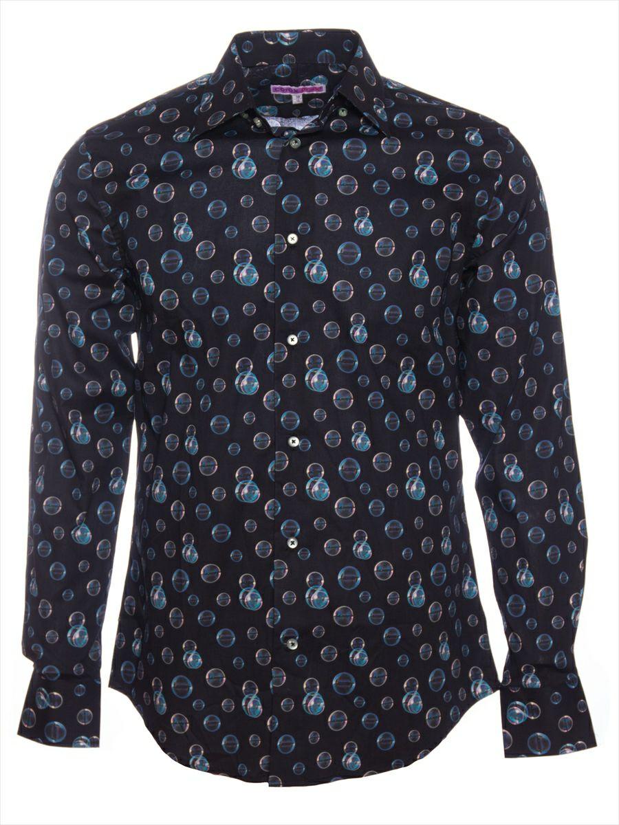 柄シャツ おしゃれ 黒 メンズ シャボン玉柄 シャツ専門店パリのブランド・コトンドゥ/CotonDoux