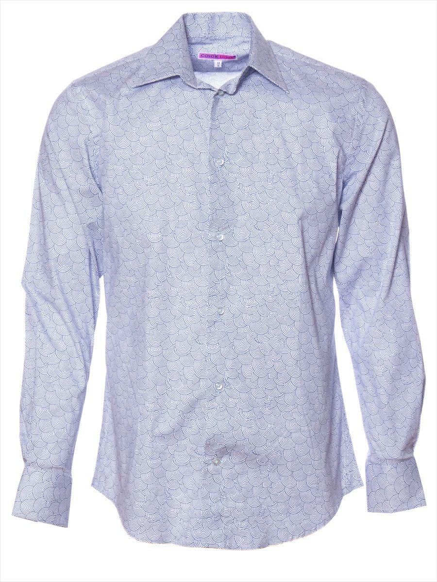 オフィスカジュアル シャツ 柄 おしゃれ ウエーブ|シャツ専門店パリのブランドCotonDoux(コトンドゥ)