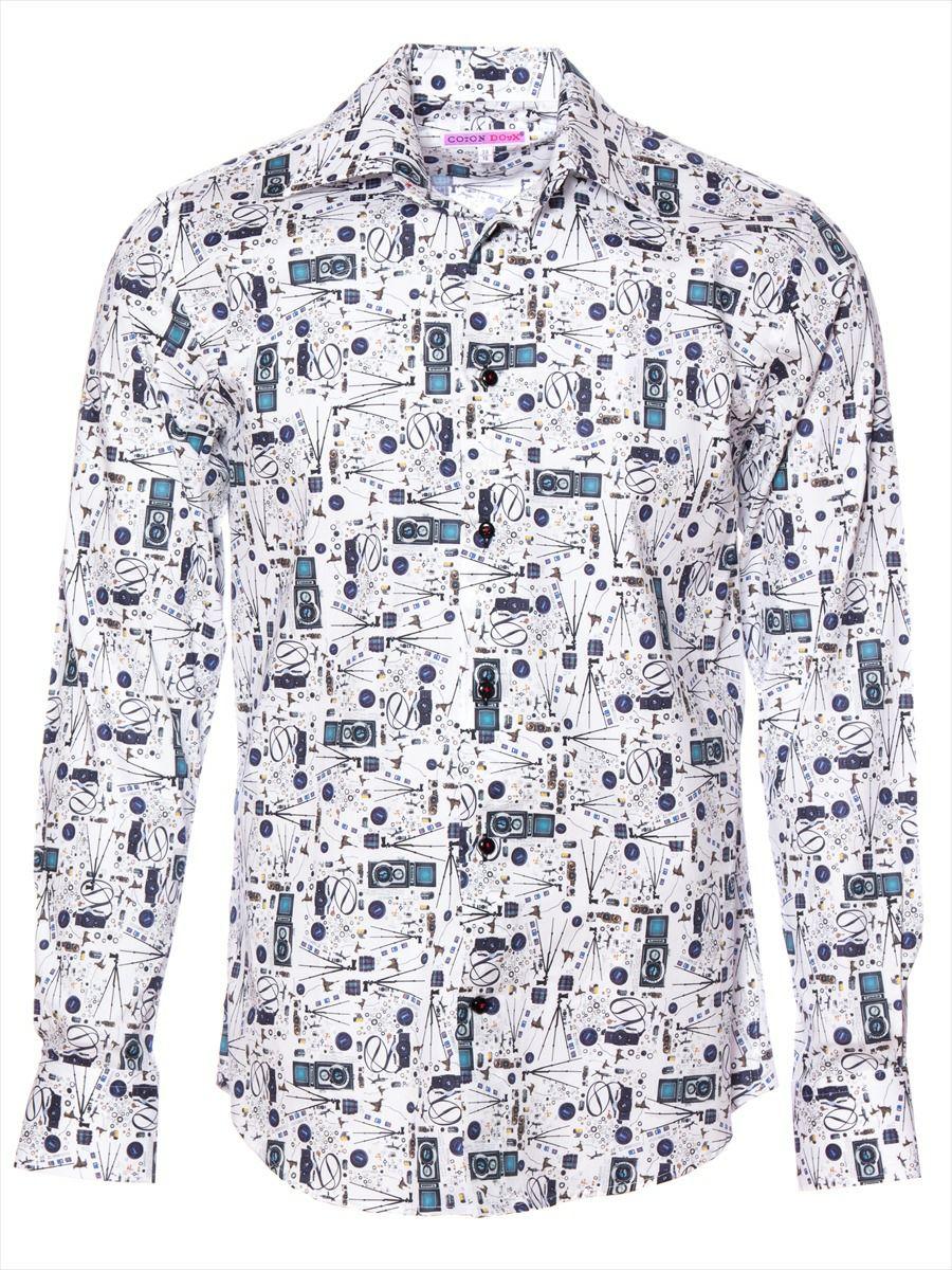 柄シャツ おしゃれ 白 カメラ柄|シャツ専門店パリのブランドCotonDoux(コトンドゥ)