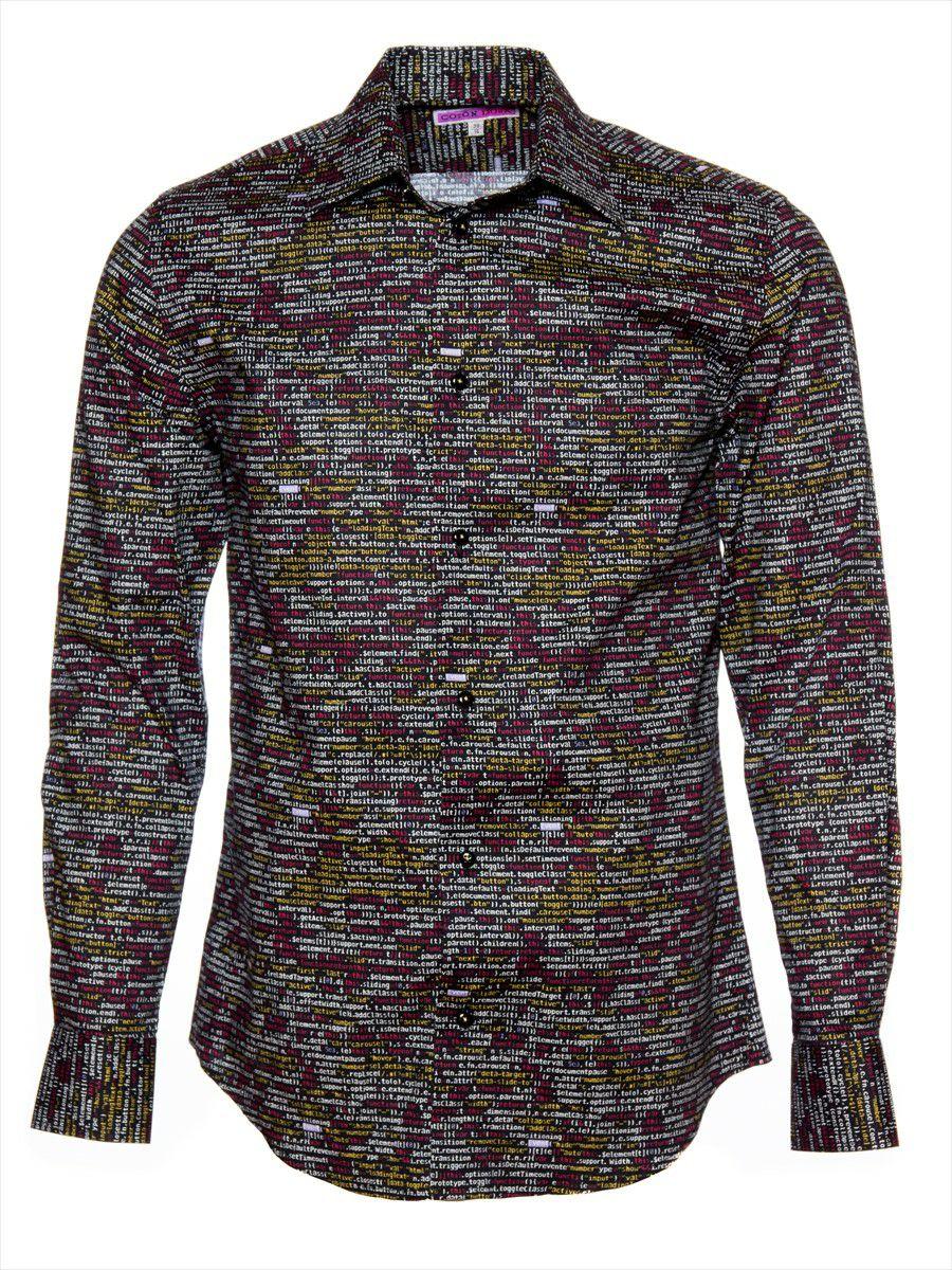 柄シャツ 長袖 メンズ プログラミング柄 コード 英語|パリのシャツブランド・コトンドゥ/CotonDoux