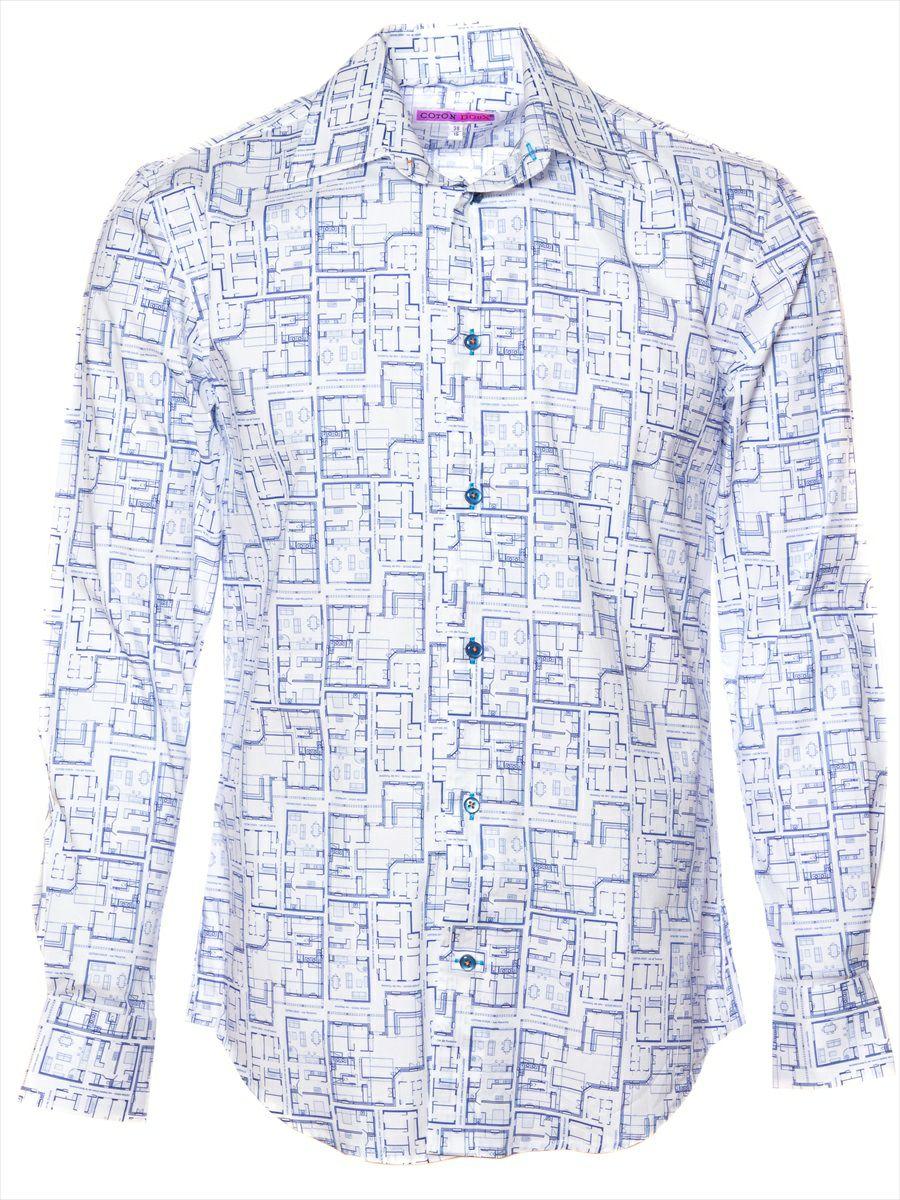 オフィスカジュアル シャツ 柄 おしゃれ ホワイト ブルー|シャツ専門店パリのブランドCotonDoux(コトンドゥ)