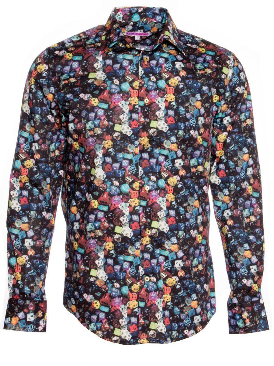 柄シャツ 黒 おしゃれ ダイス柄|シャツ専門店パリのブランドCotonDoux(コトンドゥ)