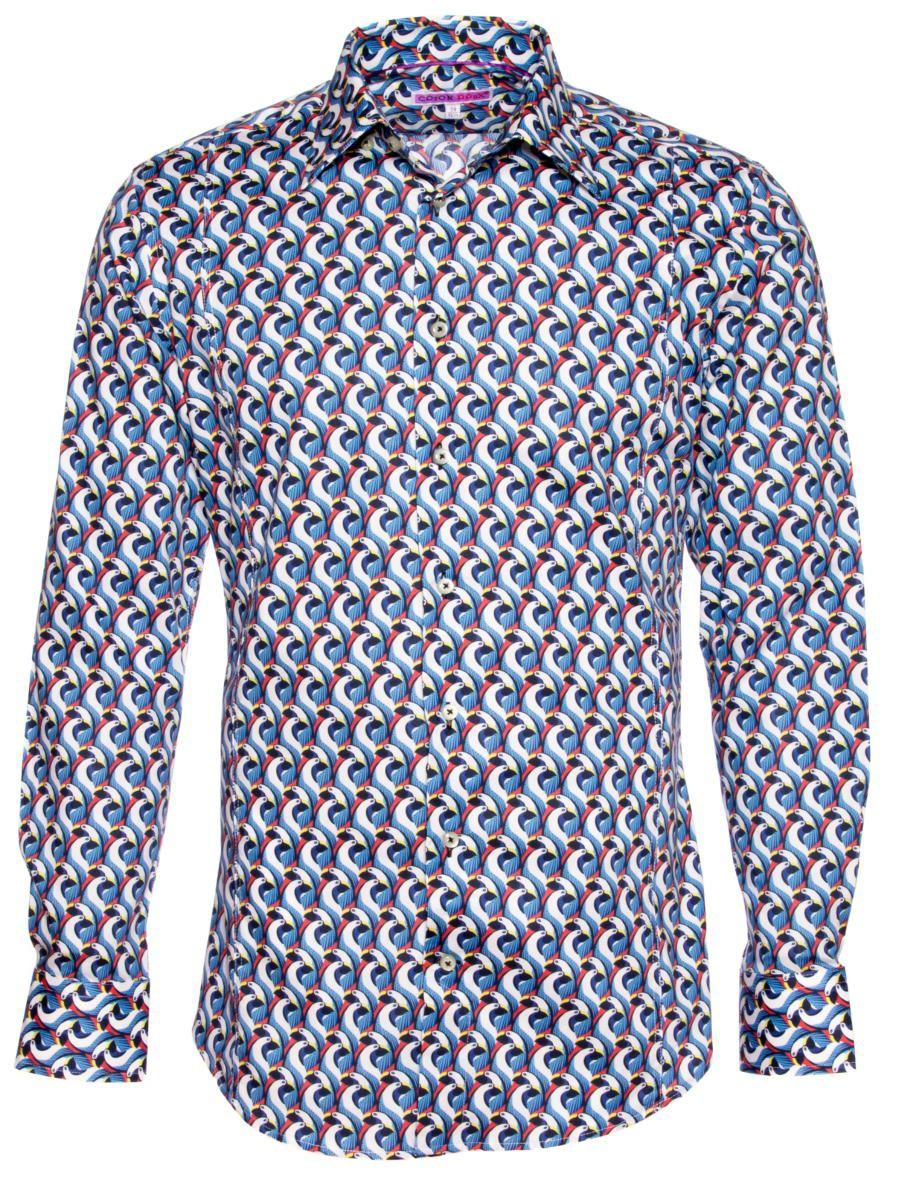 柄シャツ レトロ メンズ 鳥柄 青|シャツ専門店パリのシャツブランド・コトンドゥ/CotonDoux