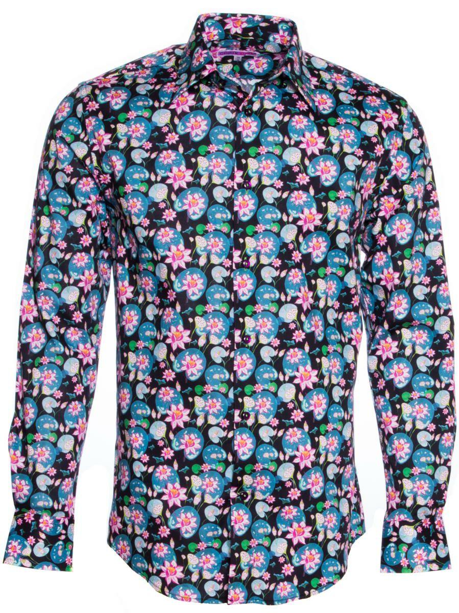 柄シャツ 黒 オシャレ 花柄 メンズ|パリのシャツブランド・コトンドゥ/CotonDoux