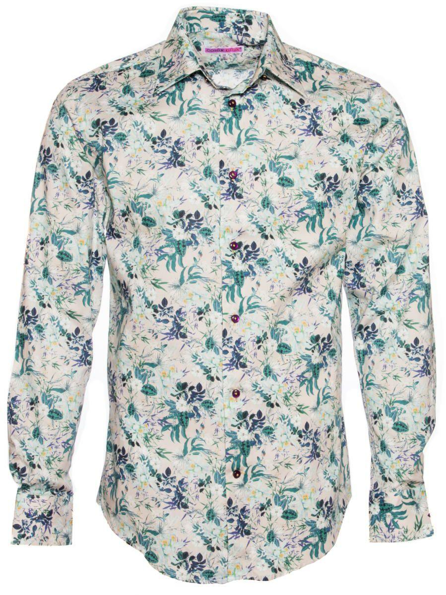 柄シャツ オシャレ 花柄 メンズ 白|パリのシャツブランド・コトンドゥ/CotonDoux