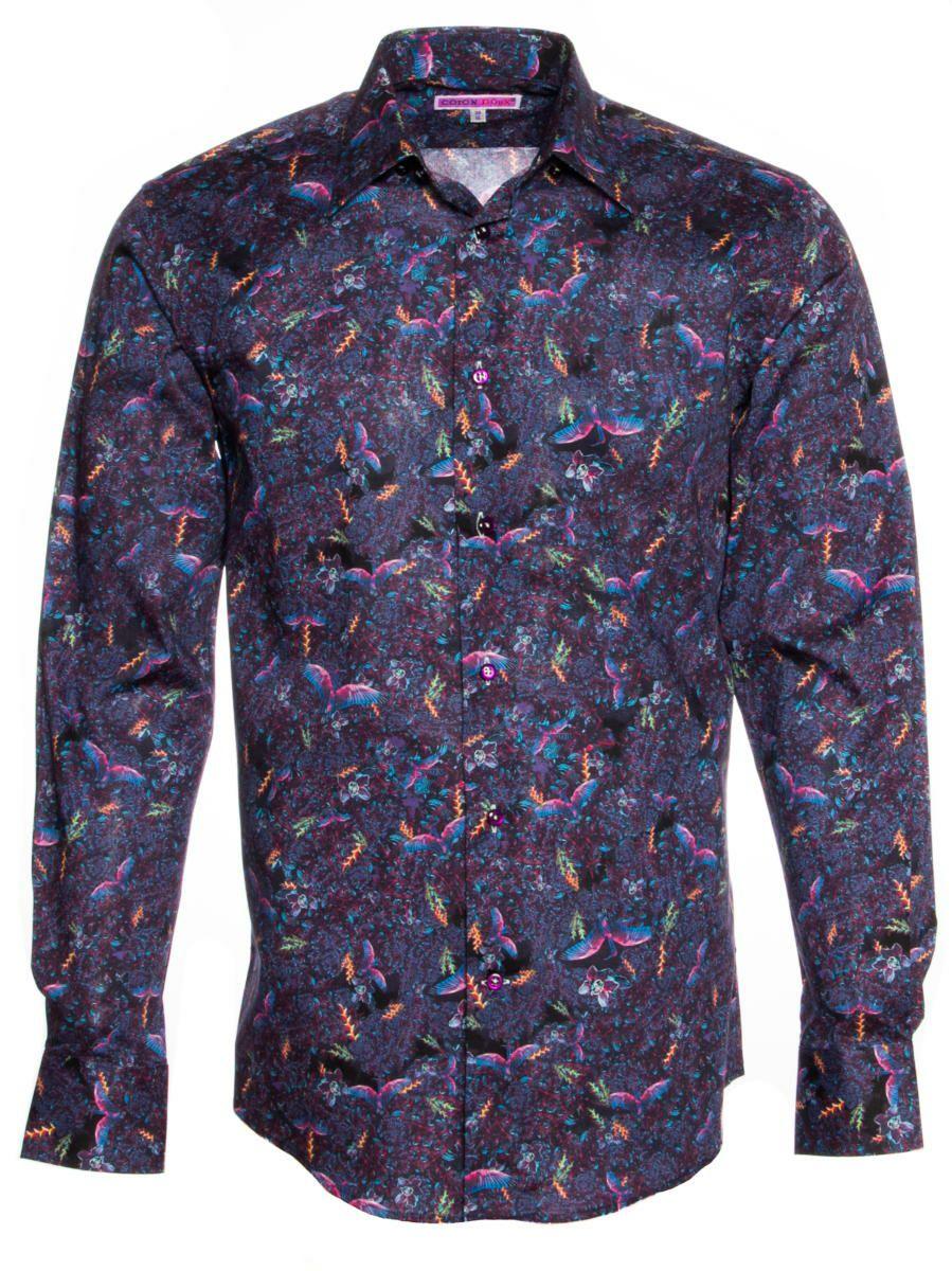 柄シャツ おしゃれ 紫 鳥柄 シャツ専門店パリのブランドCotonDoux(コトンドゥ)