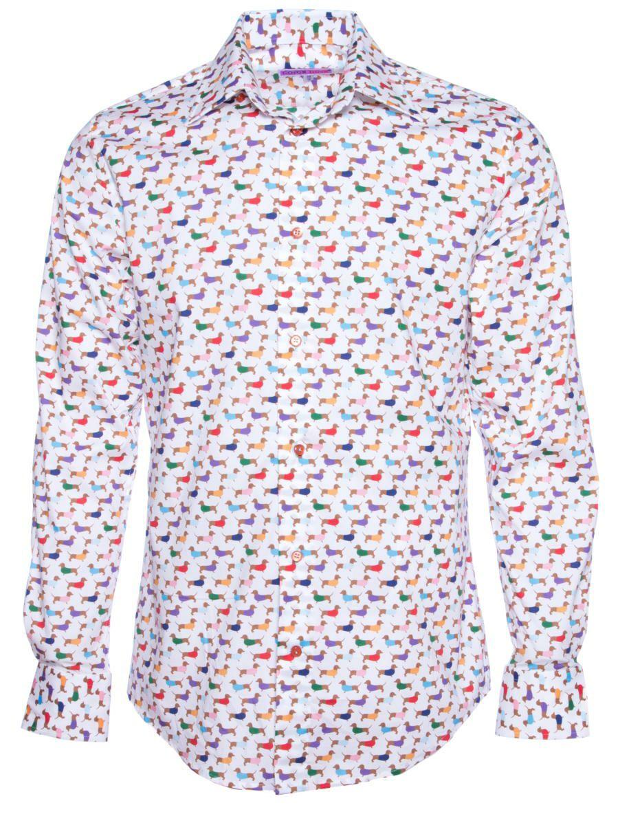 柄シャツ かわいい 犬柄 ドッグ柄 メンズ パリのシャツブランド・コトンドゥ/CotonDoux