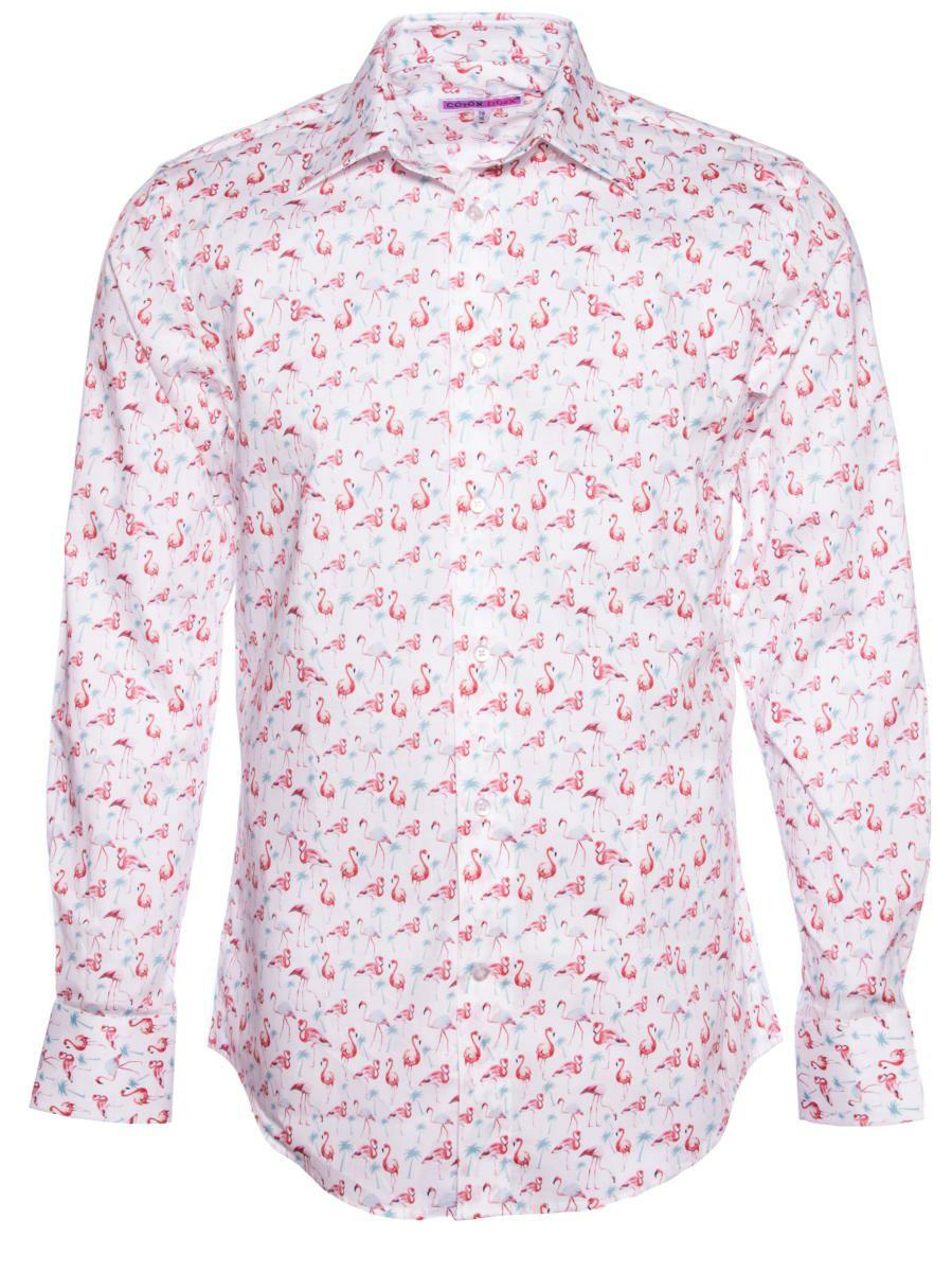 柄シャツ かわいい フラミンゴ柄 メンズ パリのシャツブランド・コトンドゥ/CotonDoux
