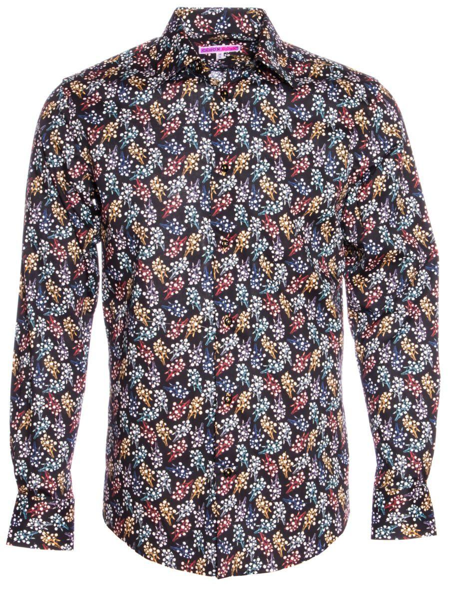 柄シャツ 黒 おしゃれ コットン花柄|シャツ専門店パリのブランドCotonDoux(コトンドゥ)