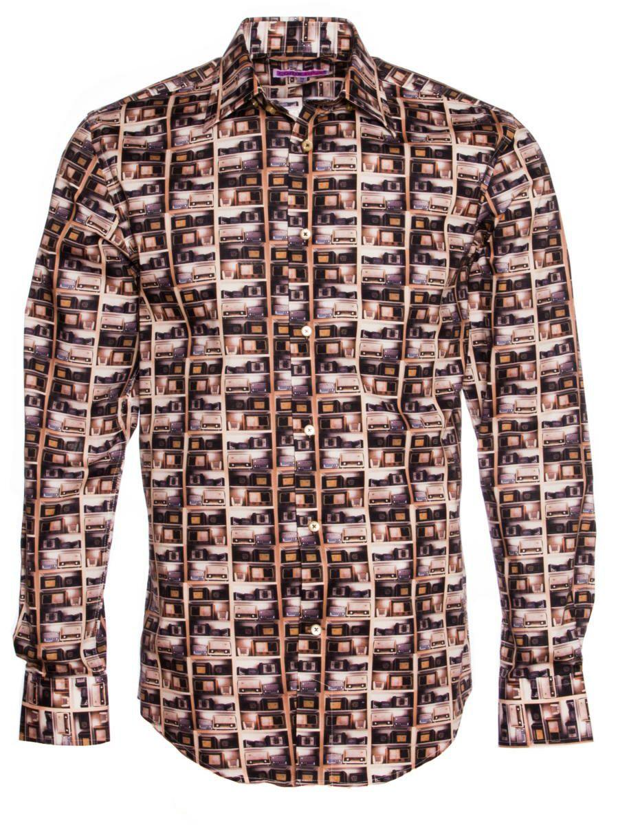 柄シャツ オシャレ ラジオ柄 メンズ|パリのシャツブランド・コトンドゥ/CotonDoux