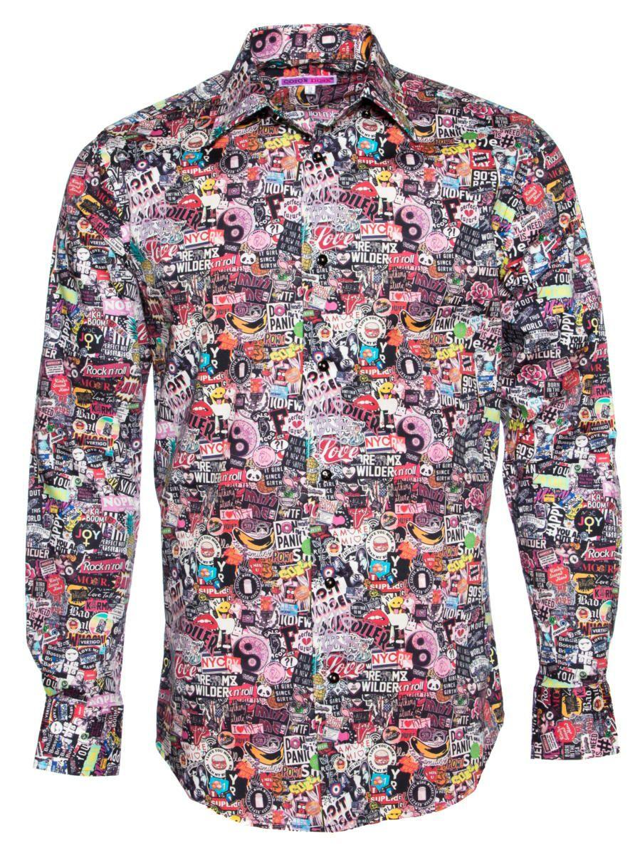 柄シャツ 個性的 ステッカー柄 メンズ|シャツ専門店パリのシャツブランド・コトンドゥ/CotonDoux