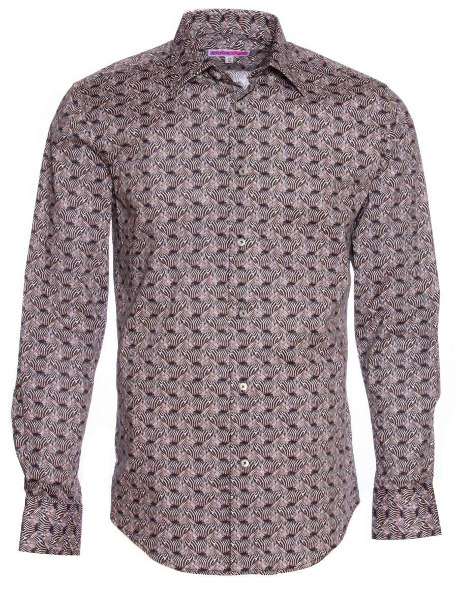 オフィスカジュアル シャツ 柄 おしゃれ 黒 シャツ専門店パリのブランドCotonDoux(コトンドゥ)