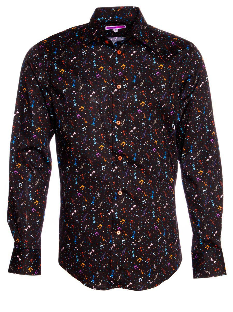 柄シャツ おしゃれ 黒 音符柄 正面 シャツ専門店パリのブランドCotonDoux(コトンドゥ)