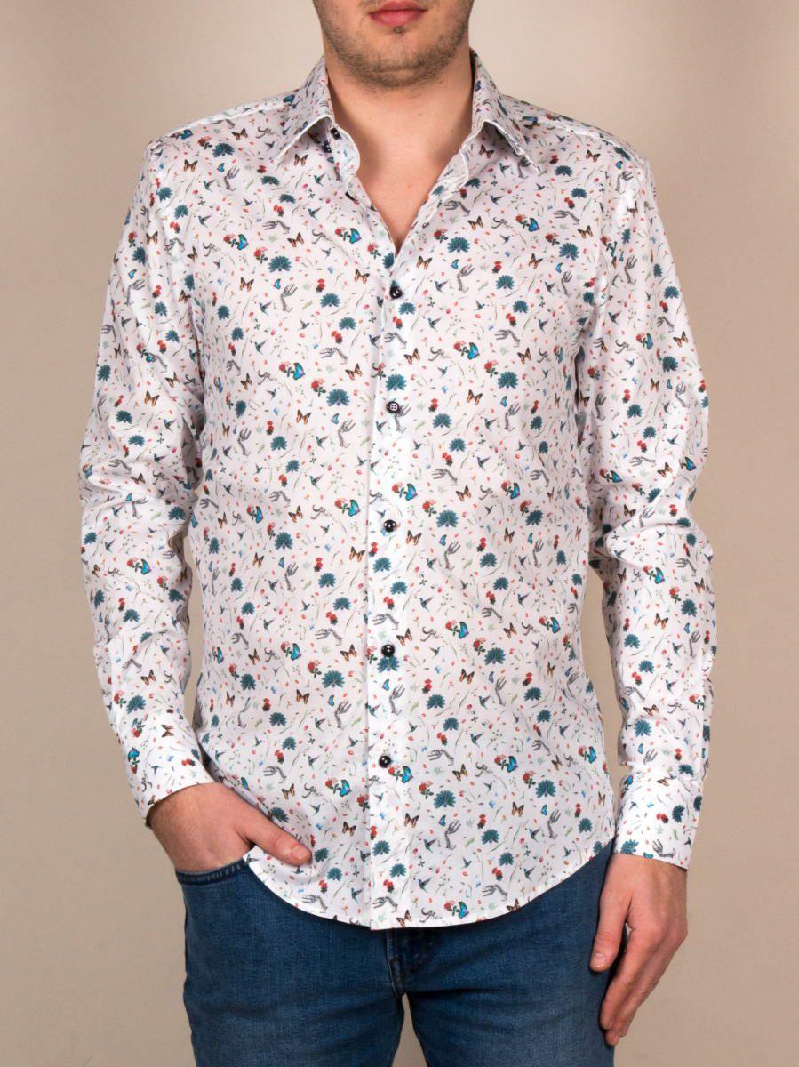 柄シャツ おしゃれ メンズ 白 ホワイト 花柄ネイチャー柄 着用イメージ正面|パリのブランドcotoudoux/コトンドゥ