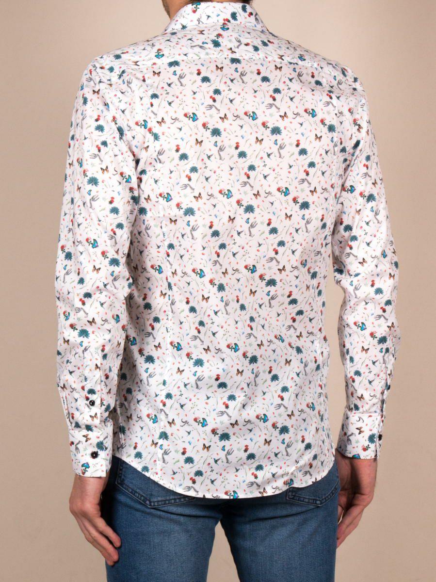 花柄シャツ オシャレ メンズ 白 ホワイト 着用イメージ後ろ|パリのブランドcotoudoux/コトンドゥ