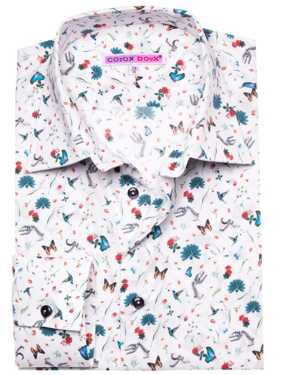 花柄シャツ おしゃれ メンズ 白 ホワイト アップ画像|パリのブランドcotoudoux/コトンドゥ