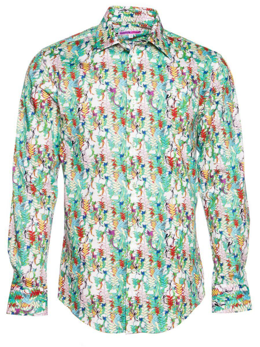 柄シャツ 緑 おしゃれ 鳥柄 ボタニカル柄 ブランド|シャツ専門店CotonDoux(コトンドゥ)
