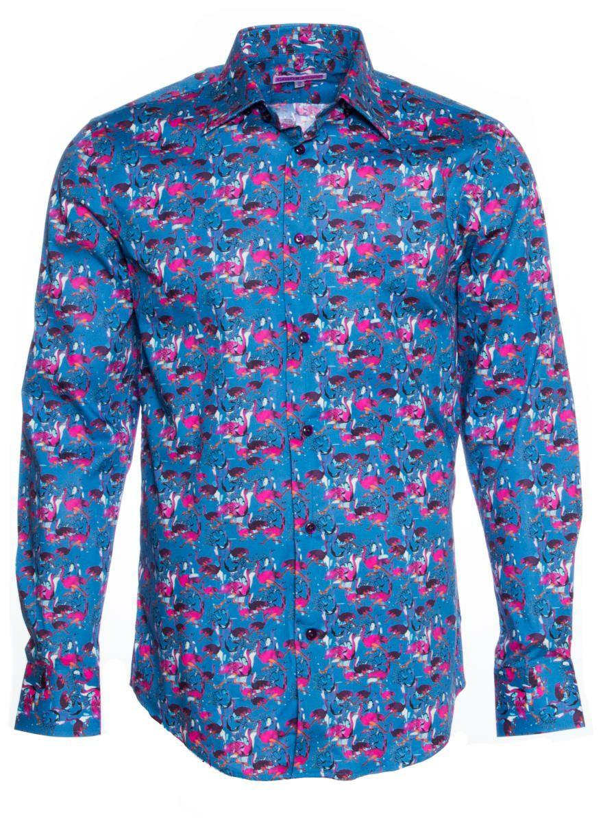 柄シャツ 青 おしゃれ 鳥柄 ブランド シャツ正面|シャツ専門店CotonDoux(コトンドゥ)