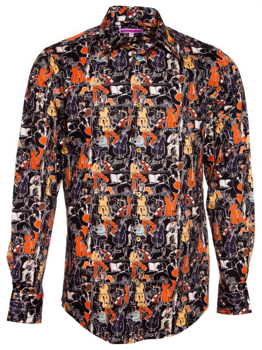 柄シャツ 長袖 おしゃれ 茶色 ジャズ柄|柄シャツ専門店コトンドゥ/CotonDoux