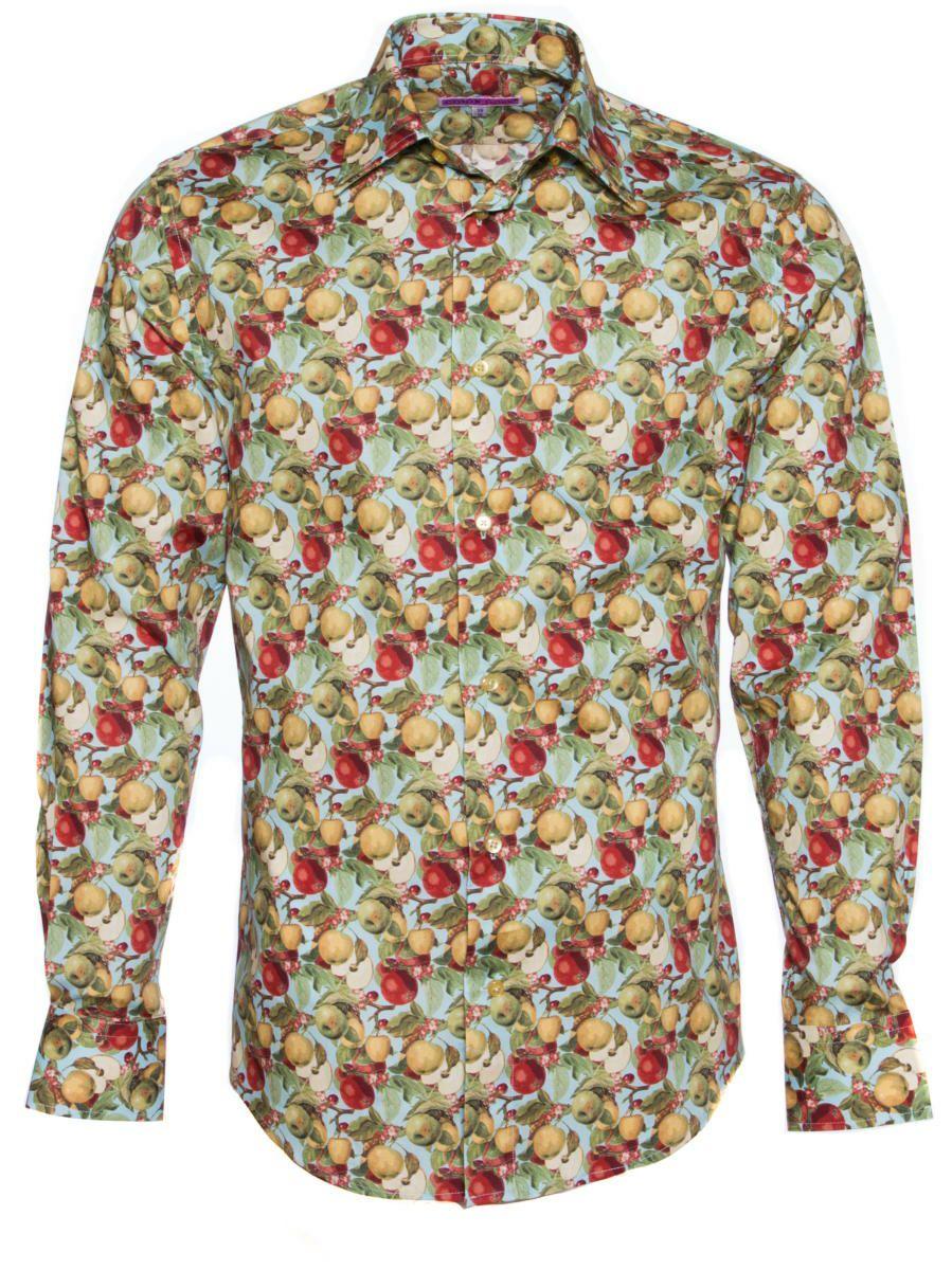 柄シャツ レトロ かっこいい メンズ 長袖 おしゃれ りんご柄 シャツブランドCotonDoux(コトンドゥ)