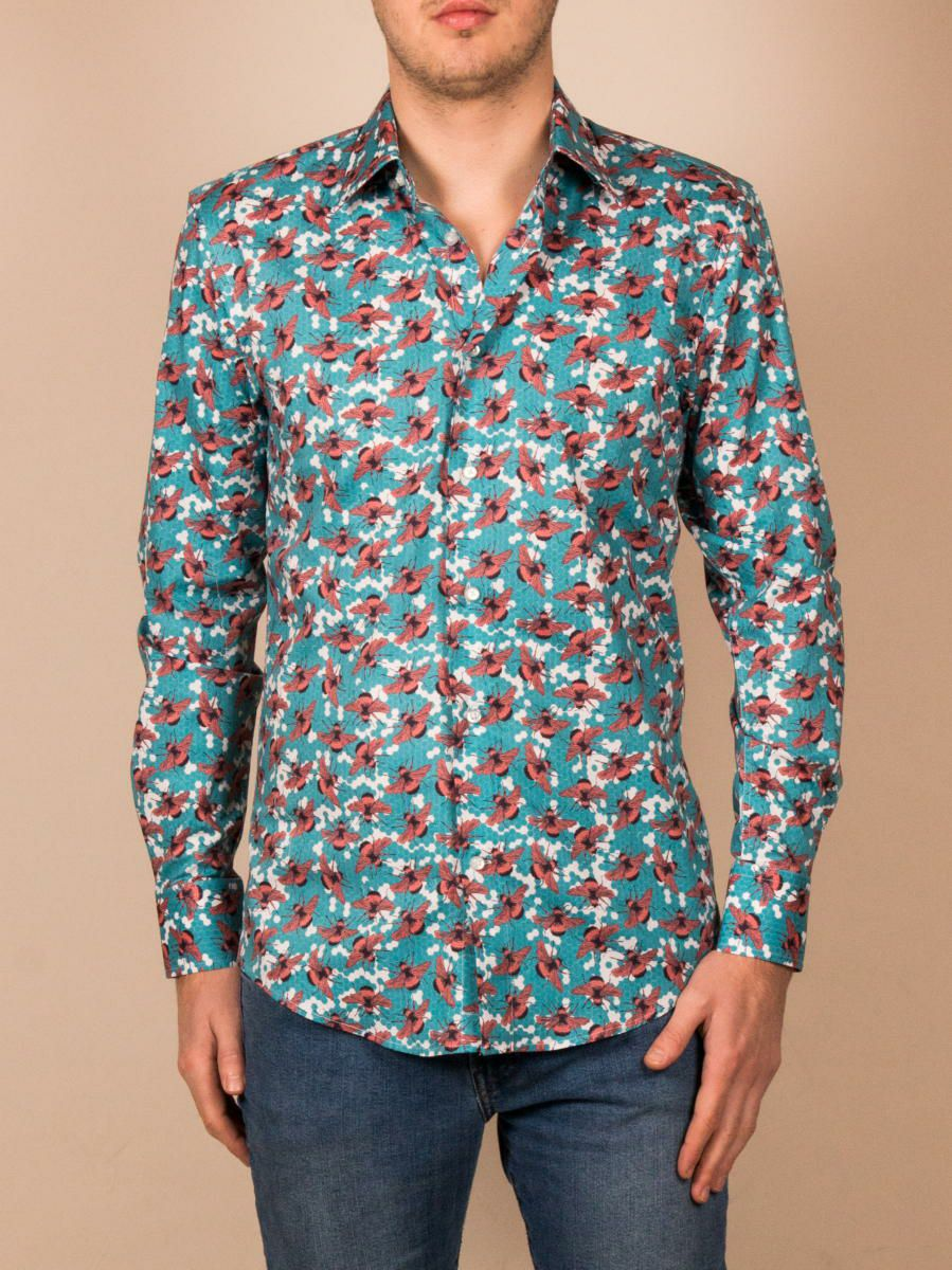 柄シャツ オシャレ メンズ 長袖  ブルー ハチ柄 着用イメージ正面 |パリのブランド・コトンドゥ/cotoudoux