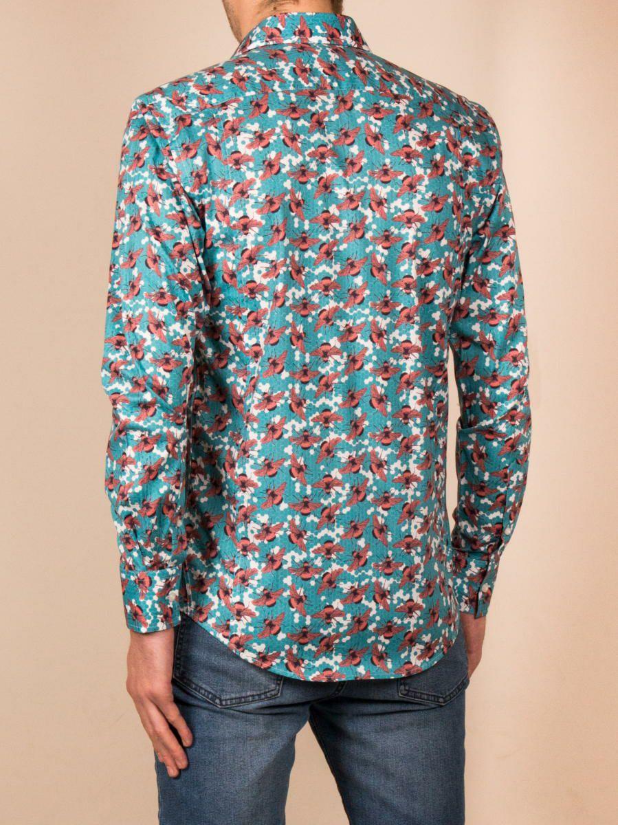 柄シャツ 長袖 メンズ おしゃれ ブルー ハチ柄 蜂柄 着用イメージ後ろ |パリのブランド・コトンドゥ/cotoudoux