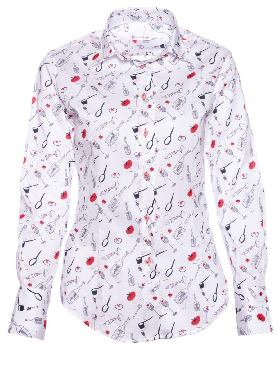 オフィスカジュアル シャツ 柄 おしゃれ 白 レディース クッキング柄 シャツ専門店CotonDoux(コトンドゥ)