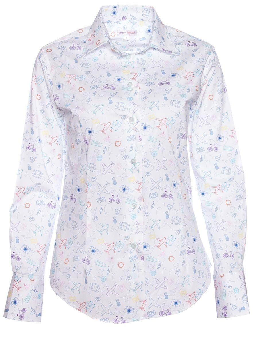 オフィスカジュアル シャツ 柄 おしゃれ 白 レディース トラベル シャツ専門店CotonDoux(コトンドゥ)