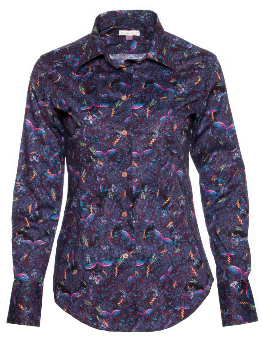 柄シャツ オシャレ レディース 紫 鳥柄 パリのシャツブランド・コトンドゥ/CotonDoux