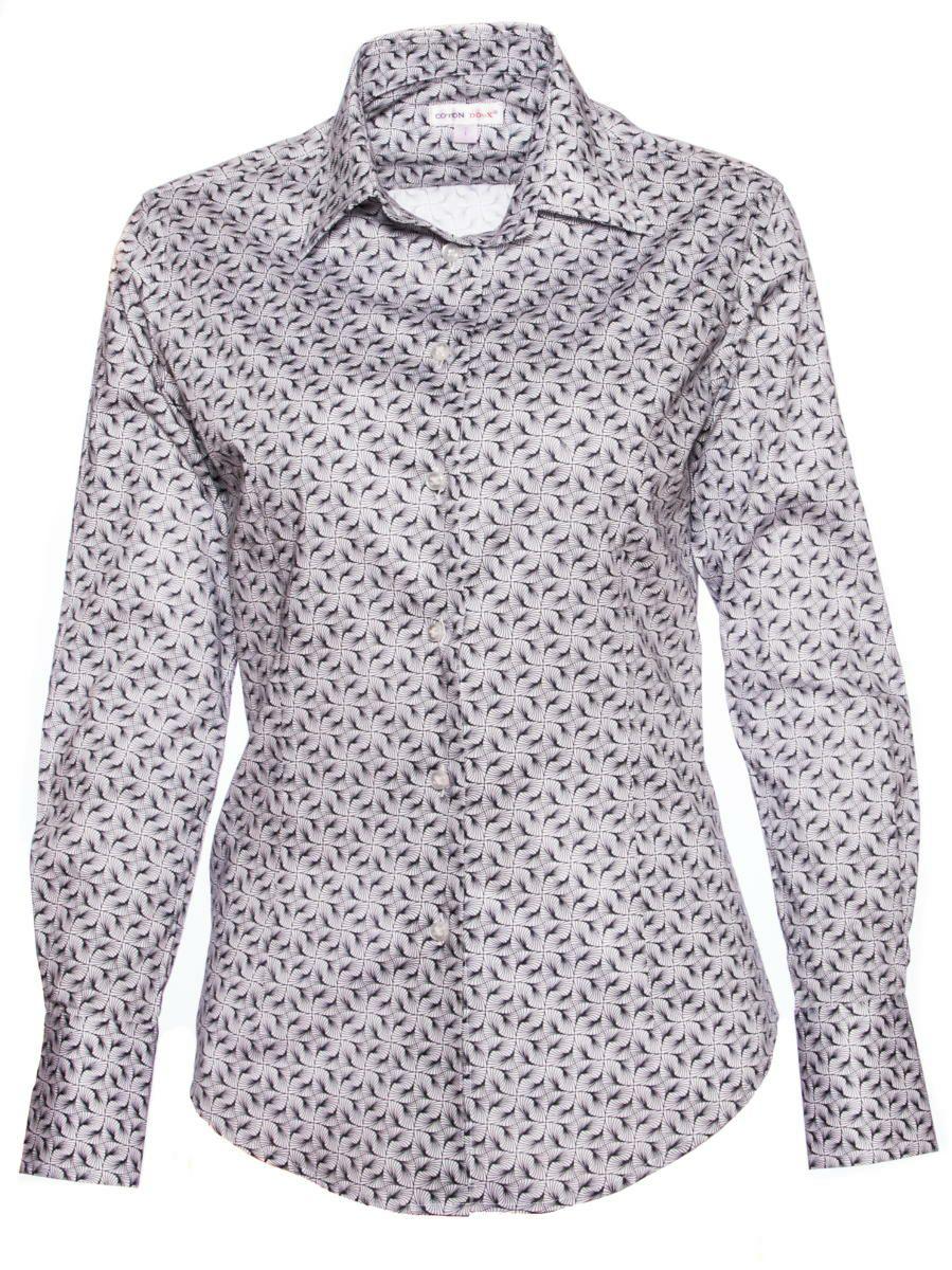 オフィスカジュアル シャツ 柄 おしゃれ グレー シャツ専門店パリのブランドCotonDoux(コトンドゥ)