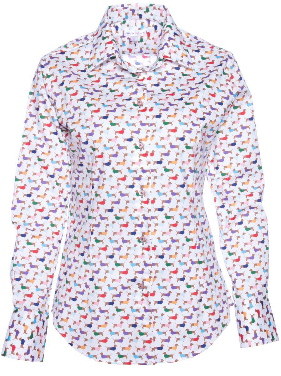 柄シャツ かわいい 犬柄 ドッグ柄 レディース パリのシャツブランド・コトンドゥ/CotonDoux