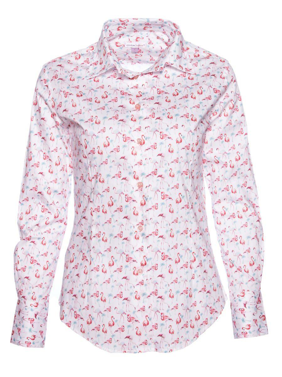 柄シャツ かわいい フラミンゴ柄 レディース|パリのシャツブランド・コトンドゥ/CotonDoux