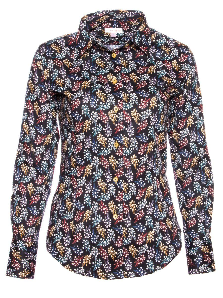 柄シャツ 黒 おしゃれ コットン花柄 シャツ専門店パリのブランドCotonDoux(コトンドゥ)