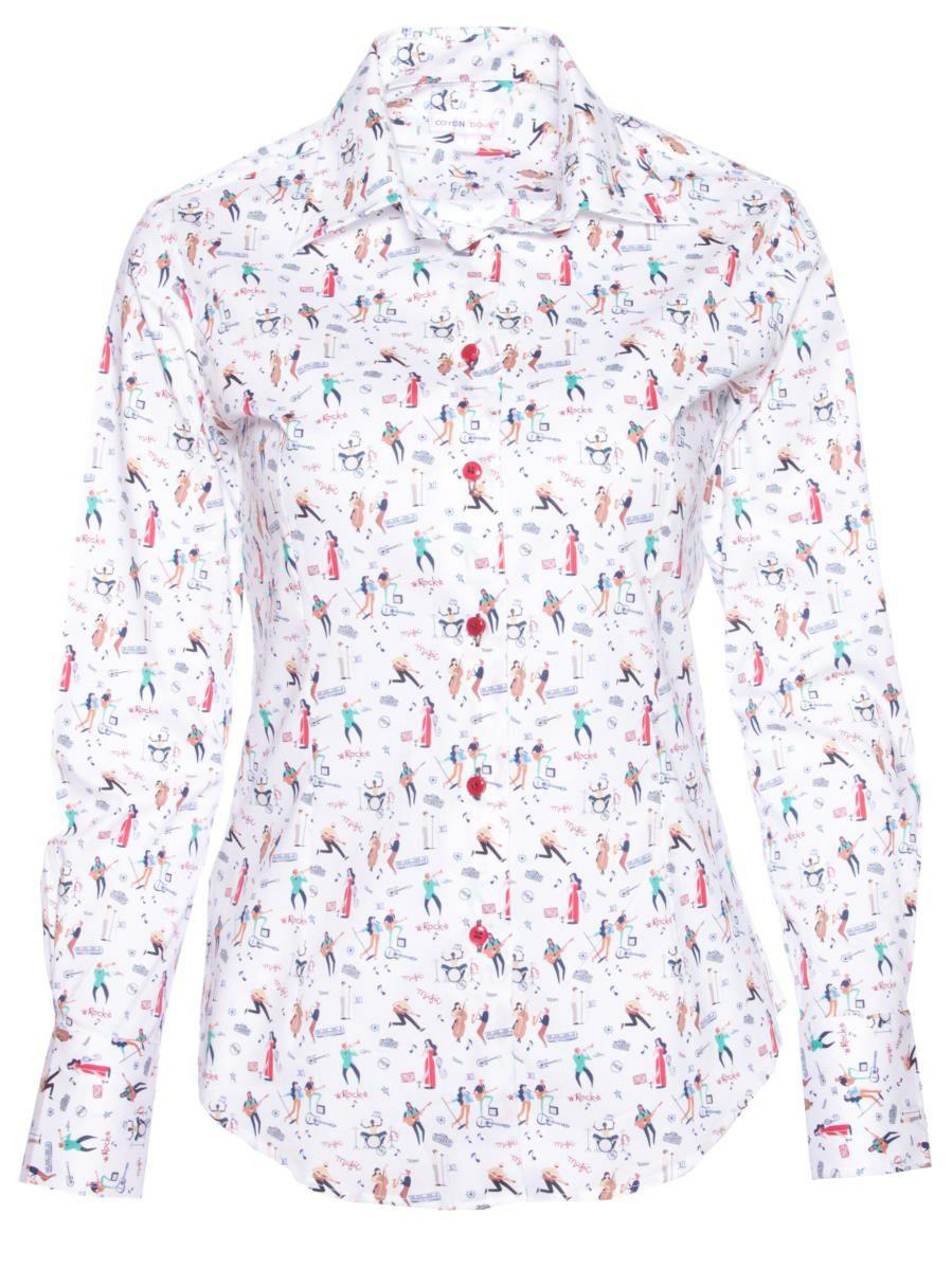 オフィスカジュアル シャツ 柄 おしゃれ 白 レディース 音楽 シャツ専門店CotonDoux(コトンドゥ)