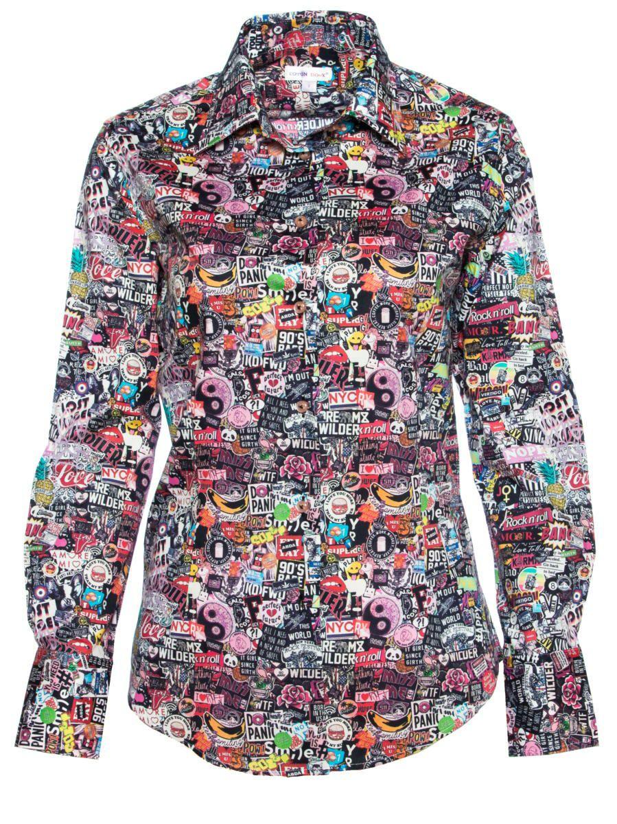 柄シャツ 個性的 ステッカー柄 レディース シャツ専門店パリのシャツブランド・コトンドゥ/CotonDoux