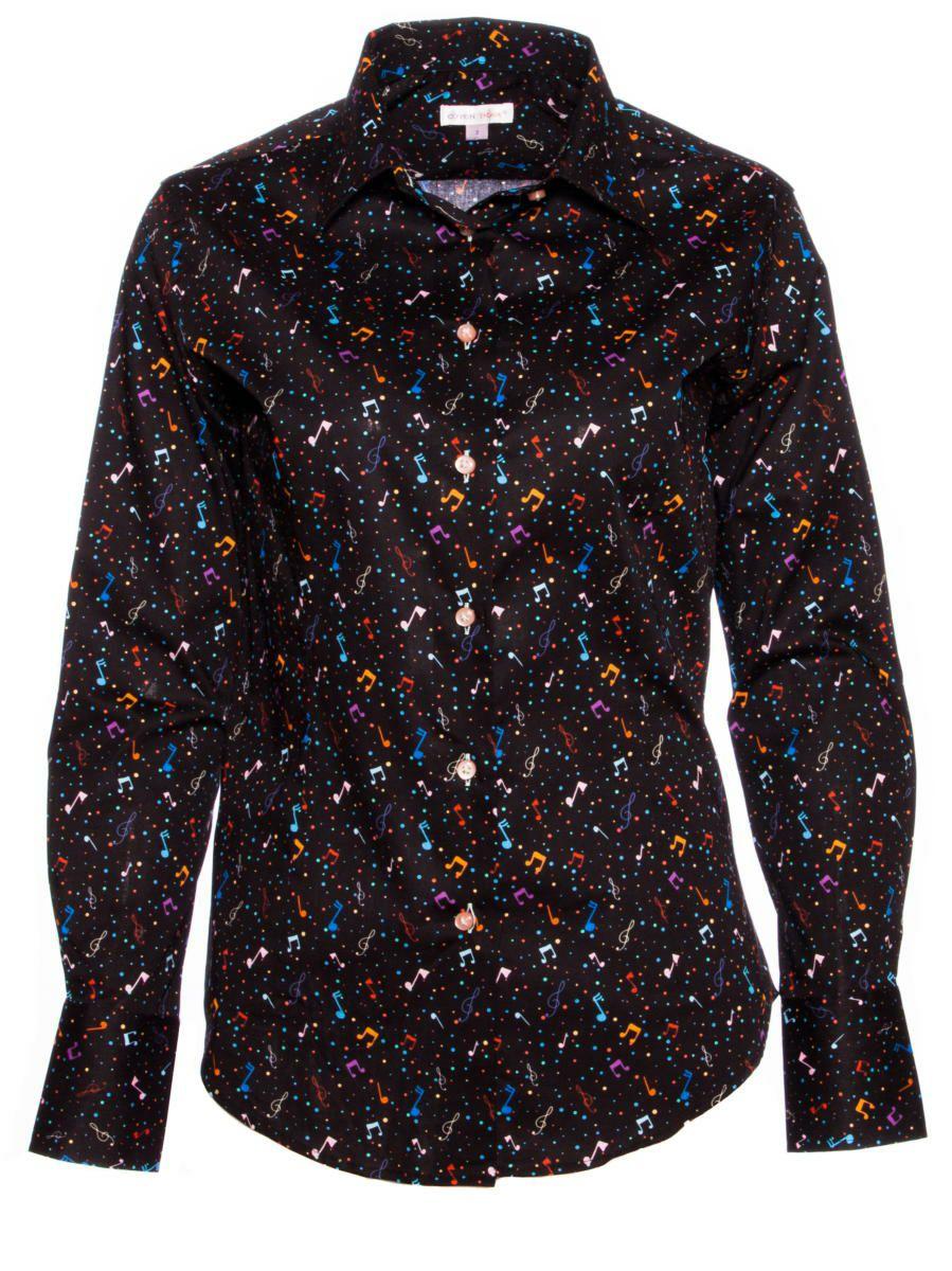 柄シャツ おしゃれ 黒 音符柄 レディース シャツ専門店パリのブランドCotonDoux(コトンドゥ)