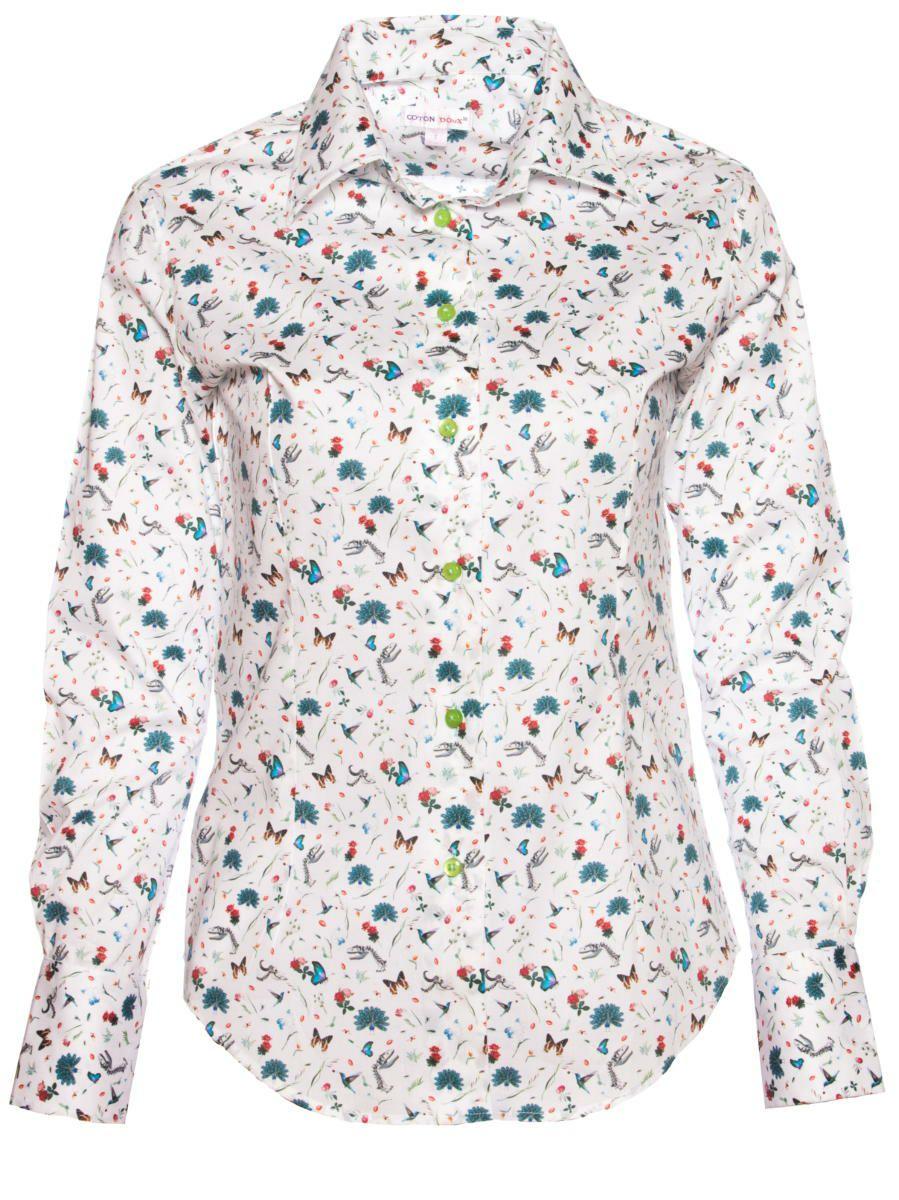 柄シャツ おしゃれ レディース 花柄 白 パリのシャツブランド・コトンドゥ/CotonDoux