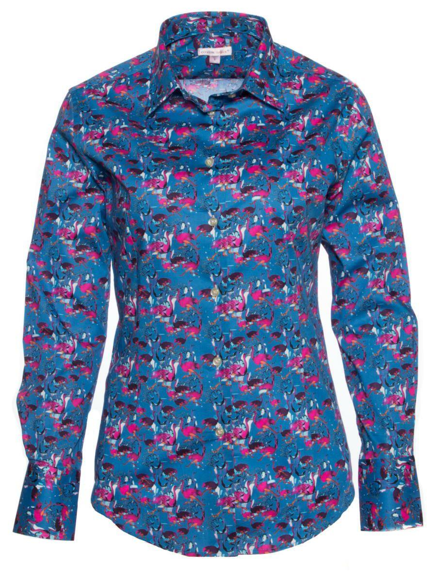 柄シャツ 青 おしゃれ 鳥柄 ブランド レディース シャツ専門店CotonDoux(コトンドゥ)