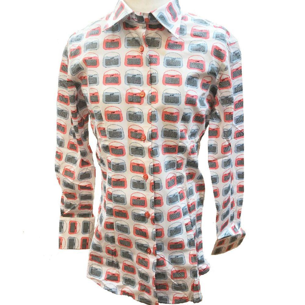 ビンテージラジオ柄シャツ全体|フランス・パリのメンズシャツ・レディースシャツの専門店CotonDoux(コトンドゥ)